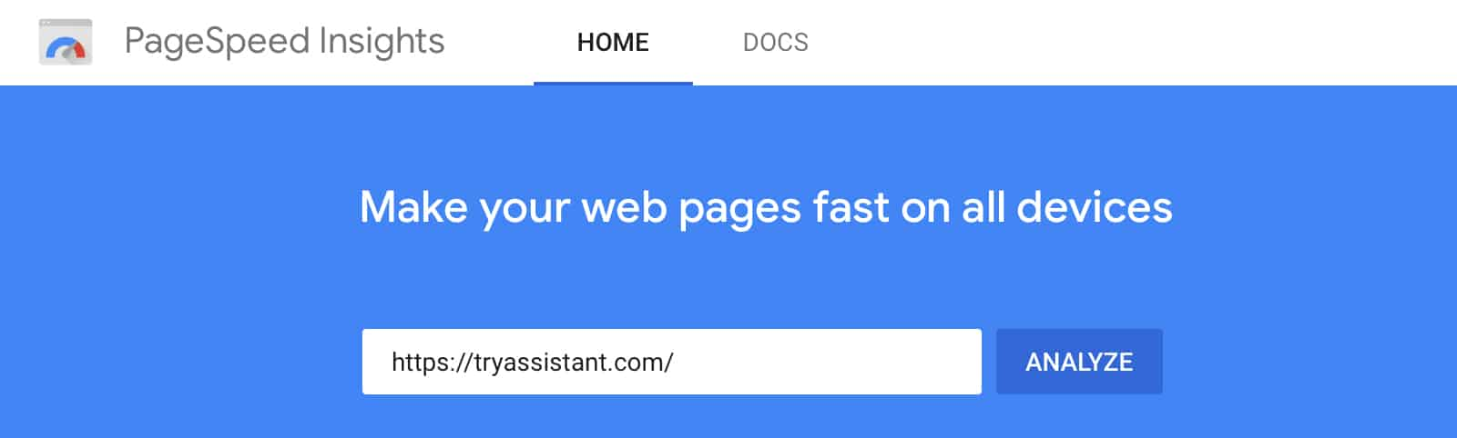 Google Page speed Insights Testing Website